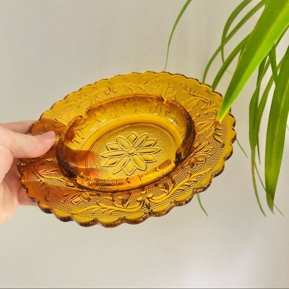 Amber Gold Glass Floral Jewelry Dish Ashtray